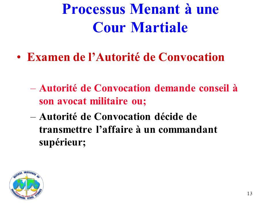 13 Processus Menant à une Cour Martiale Examen de lAutorité de Convocation –Autorité de Convocation demande conseil à son avocat militaire ou; –Autori