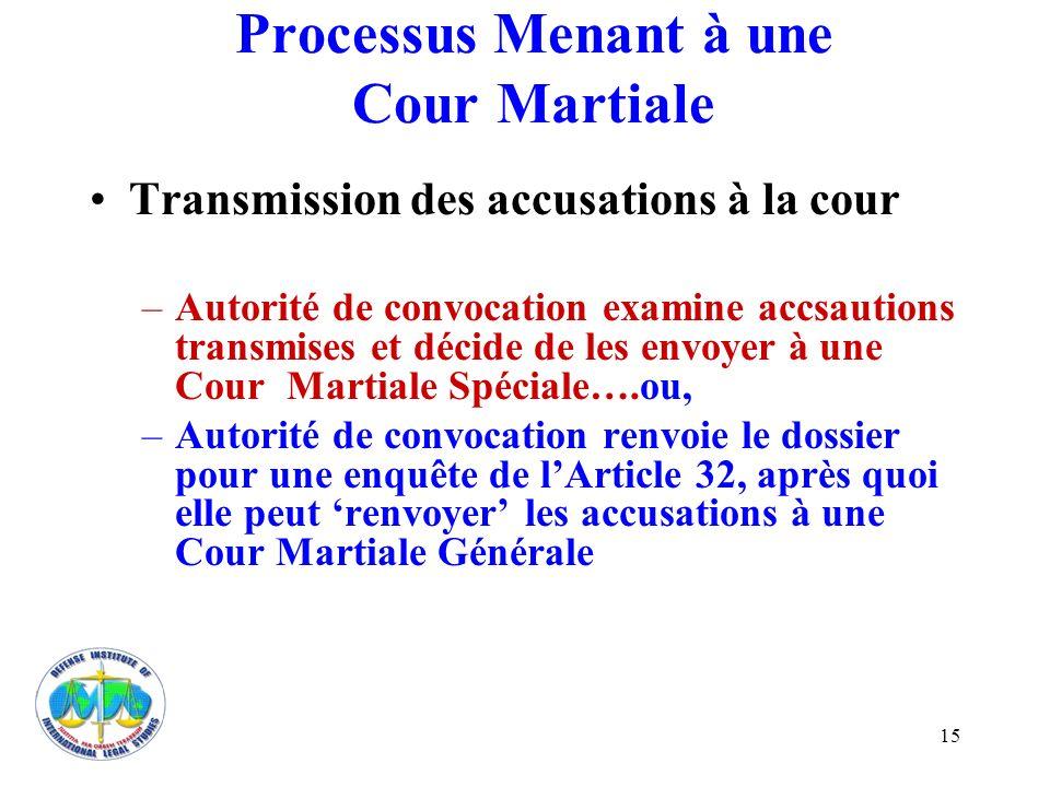 15 Processus Menant à une Cour Martiale Transmission des accusations à la cour –Autorité de convocation examine accsautions transmises et décide de le