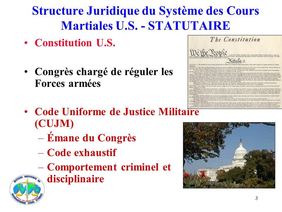 3 Structure Juridique du Système des Cours Martiales U.S. - STATUTAIRE Constitution U.S. Congrès chargé de réguler les Forces armées Code Uniforme de