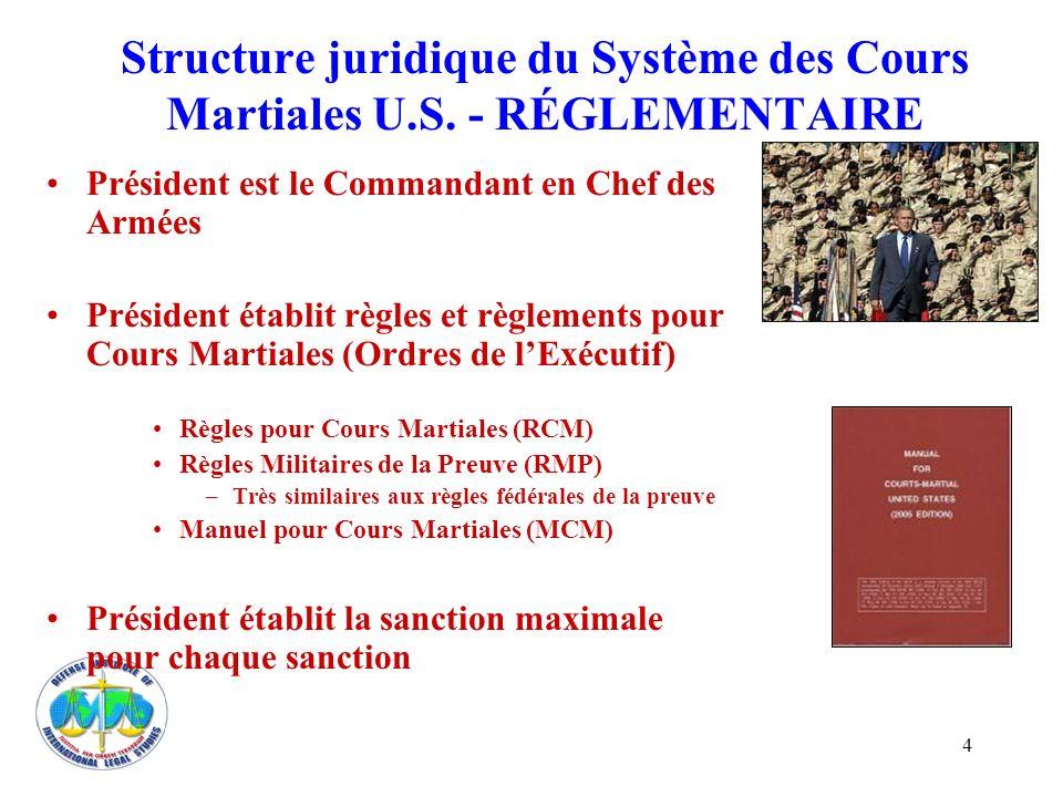 4 Structure juridique du Système des Cours Martiales U.S. - RÉGLEMENTAIRE Président est le Commandant en Chef des Armées Président établit règles et r