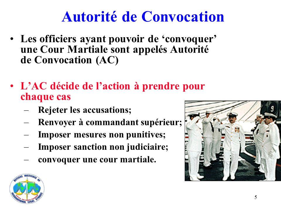 5 Autorité de Convocation Les officiers ayant pouvoir de convoquer une Cour Martiale sont appelés Autorité de Convocation (AC) LAC décide de laction à