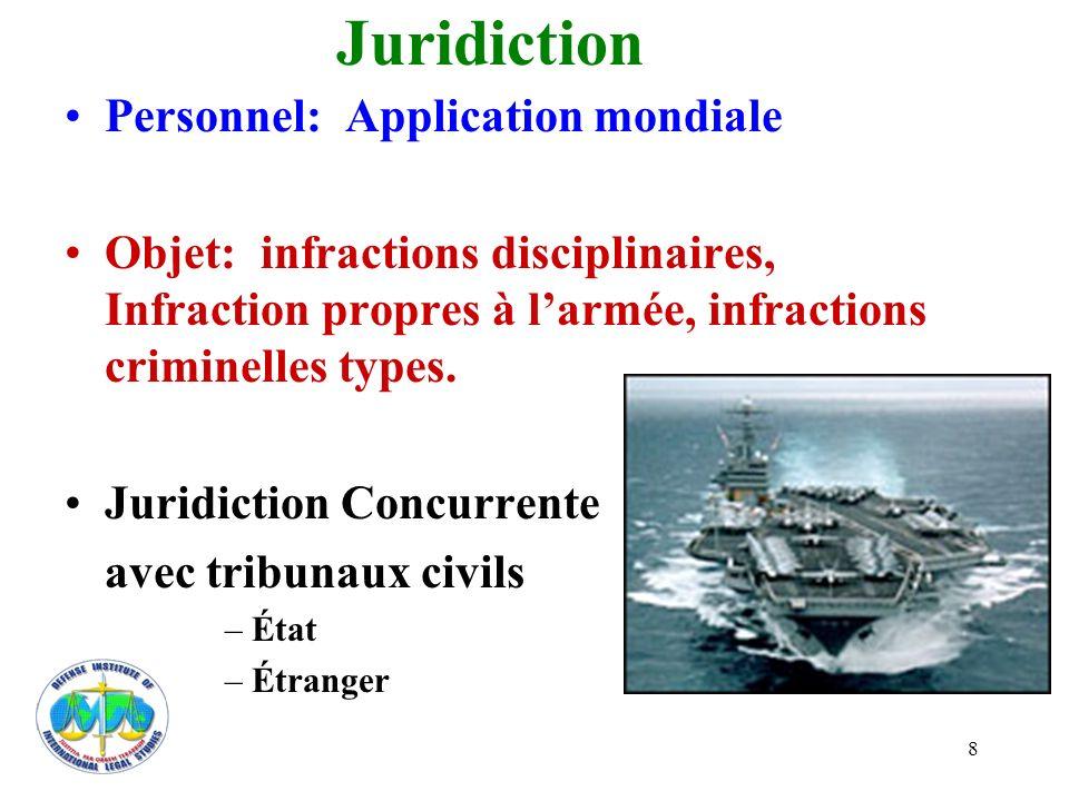 8 Juridiction Personnel: Application mondiale Objet: infractions disciplinaires, Infraction propres à larmée, infractions criminelles types. Juridicti