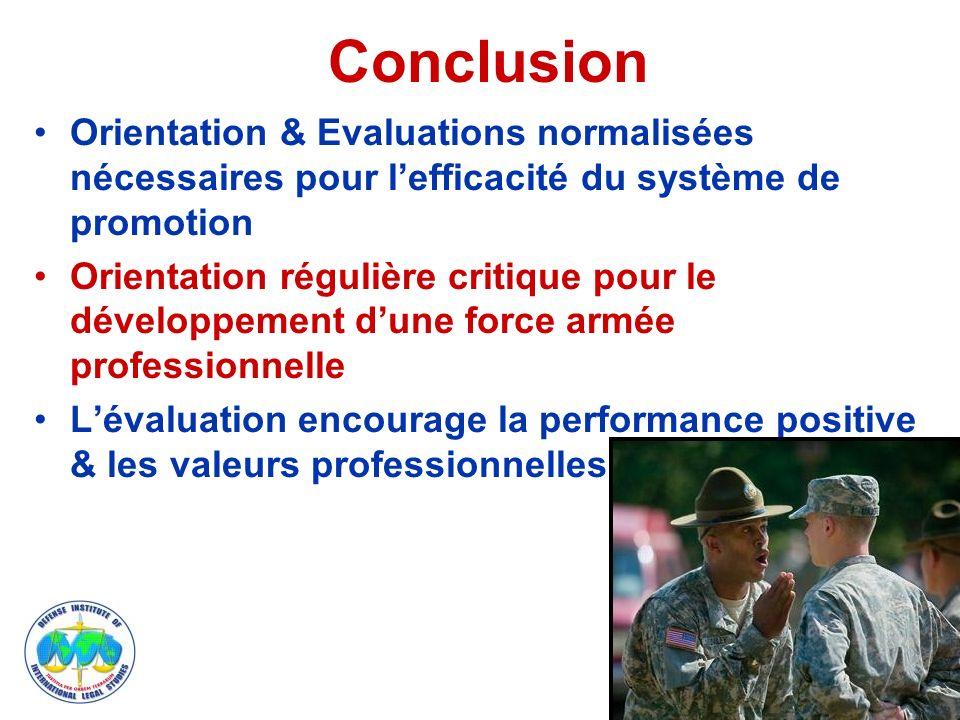 Conclusion Orientation & Evaluations normalisées nécessaires pour lefficacité du système de promotion Orientation régulière critique pour le développement dune force armée professionnelle Lévaluation encourage la performance positive & les valeurs professionnelles 11