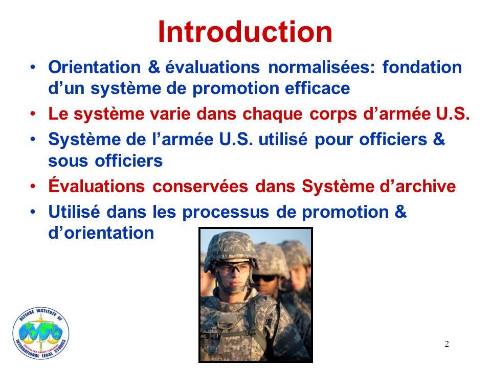 Introduction Orientation & évaluations normalisées: fondation dun système de promotion efficace Le système varie dans chaque corps darmée U.S.