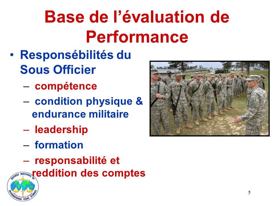 Base de lévaluation de Performance Responsébilités du Sous Officier – compétence – condition physique & endurance militaire – leadership – formation – responsabilité et reddition des comptes 5