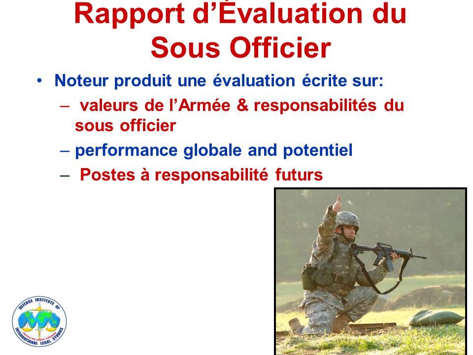 Rapport dÉvaluation du Sous Officier Noteur produit une évaluation écrite sur: – valeurs de lArmée & responsabilités du sous officier –performance globale and potentiel – Postes à responsabilité futurs 7