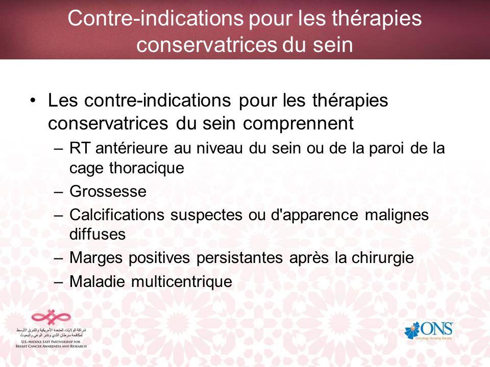 Contre-indications pour les thérapies conservatrices du sein Les contre-indications pour les thérapies conservatrices du sein comprennent –Maladie active des tissus conjonctifs (ex : sclérodermie, lupus) –Présence d une tumeur importante dans un petit sein, ce qui limite la possibilité d obtenir un résultat esthétique –Les tumeurs supérieures à 5 cm –Les femmes de 35 ans ou moins, ou les femmes préménopausées avec une mutation BRCA1 ou BRCA2 connue.