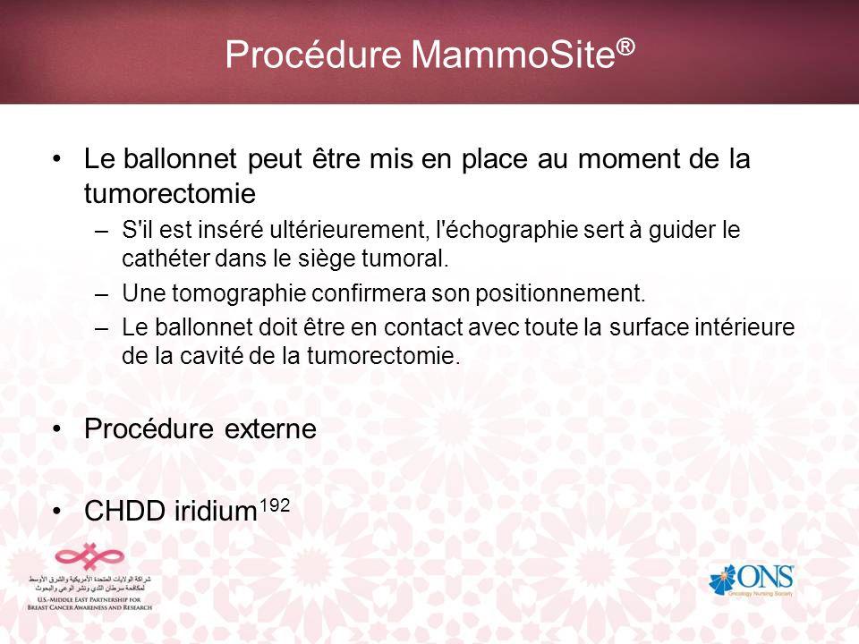 Procédure MammoSite ® Deux fractions quotidiennes de 3–4 Gy Dose totale de 34 Gy en cinq à sept jours Aucune précaution liée aux radiations n est nécessaire pour la patiente ou le personnel soignant