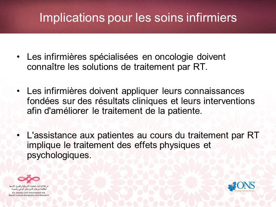 Implications pour les soins infirmiers Les infirmières spécialisées en oncologie doivent connaître les solutions de traitement par RT. Les infirmières
