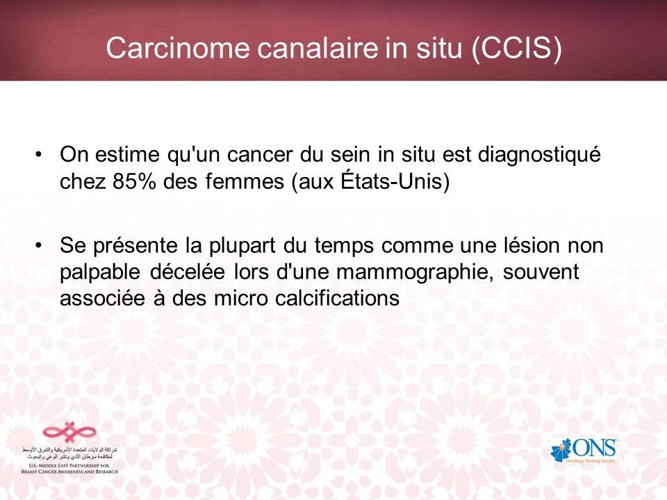 Carcinome canalaire in situ (CCIS) On estime qu'un cancer du sein in situ est diagnostiqué chez 85% des femmes (aux États-Unis) Se présente la plupart