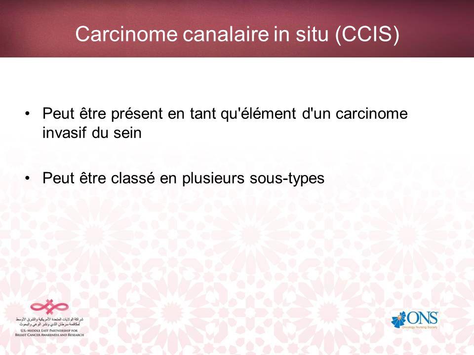 Carcinome canalaire in situ (CCIS) Peut être présent en tant qu'élément d'un carcinome invasif du sein Peut être classé en plusieurs sous-types