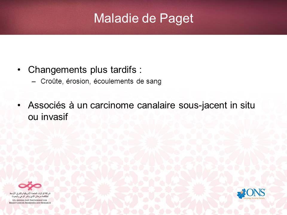 Maladie de Paget Changements plus tardifs : –Croûte, érosion, écoulements de sang Associés à un carcinome canalaire sous-jacent in situ ou invasif