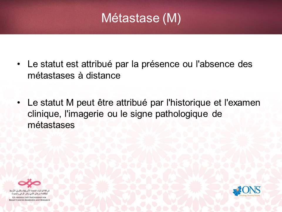 Métastase (M) Le statut est attribué par la présence ou l'absence des métastases à distance Le statut M peut être attribué par l'historique et l'exame