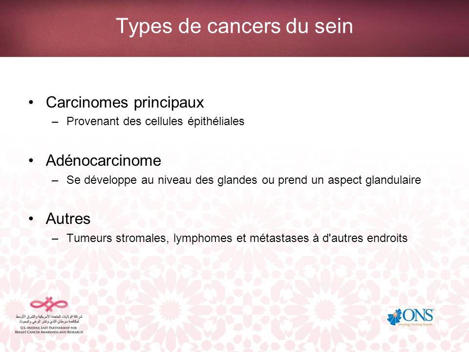 Types de cancers du sein Carcinomes principaux –Provenant des cellules épithéliales Adénocarcinome –Se développe au niveau des glandes ou prend un asp