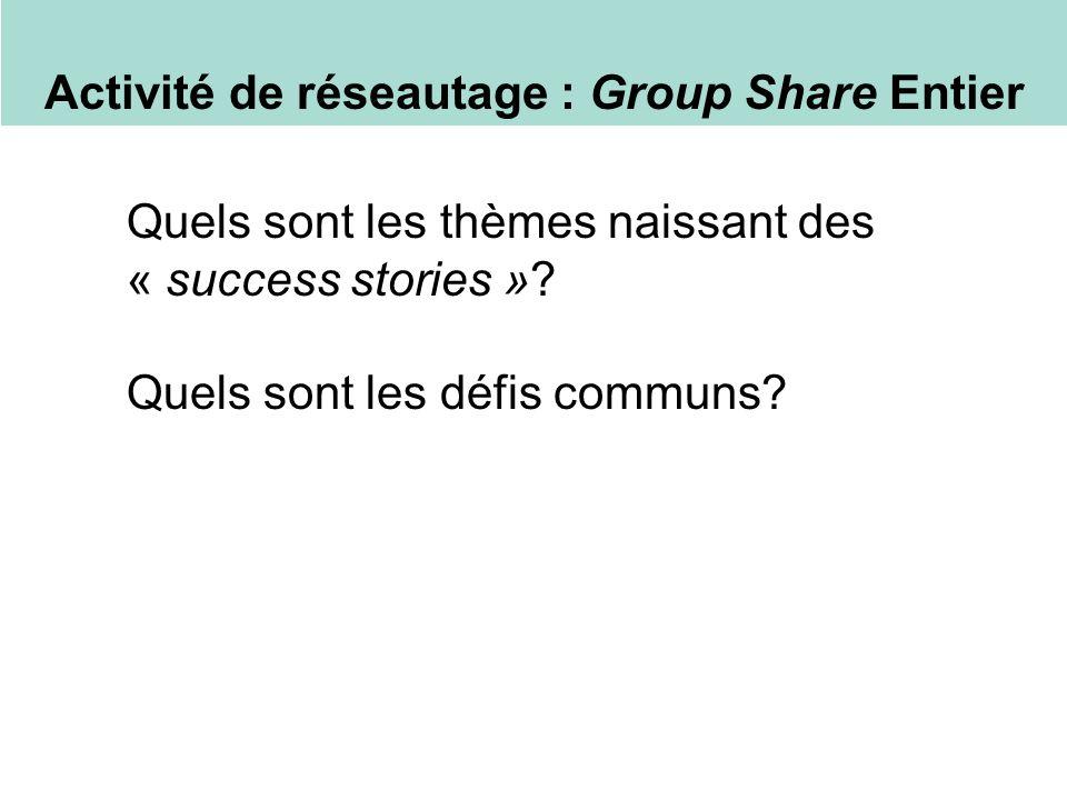 Quels sont les thèmes naissant des « success stories ».