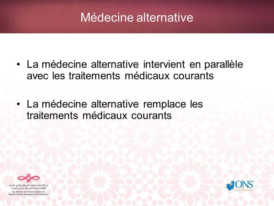 La médecine alternative intervient en parallèle avec les traitements médicaux courants La médecine alternative remplace les traitements médicaux courants
