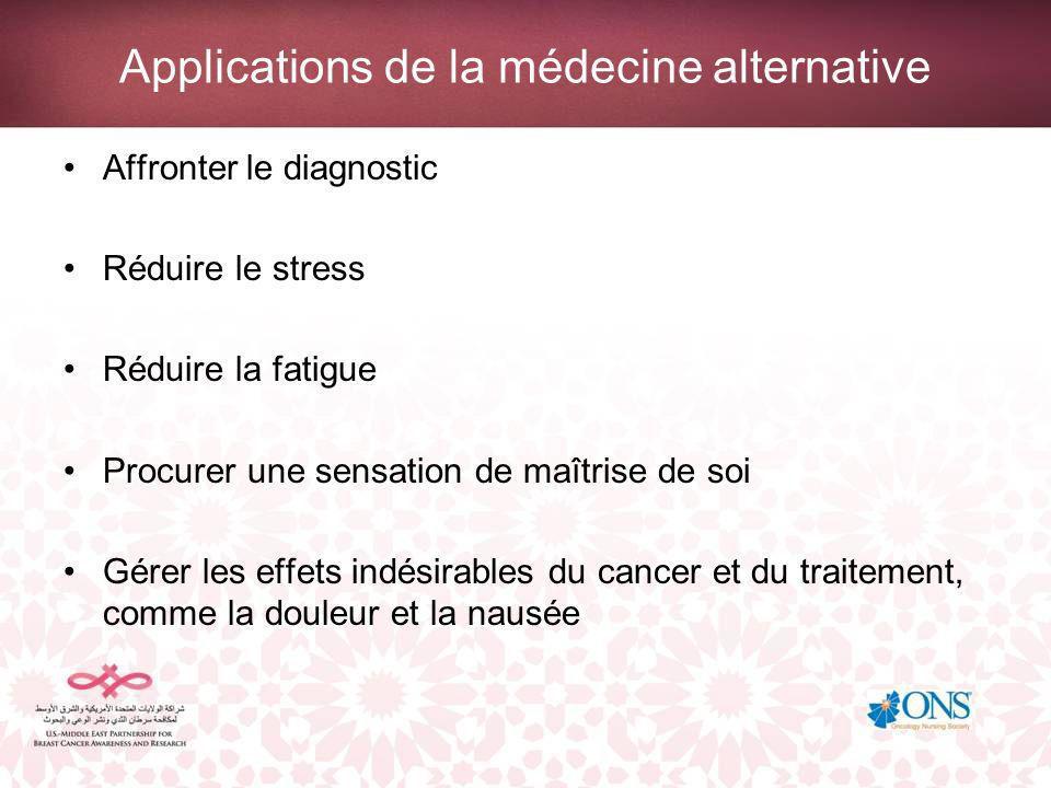 Applications de la médecine alternative Affronter le diagnostic Réduire le stress Réduire la fatigue Procurer une sensation de maîtrise de soi Gérer les effets indésirables du cancer et du traitement, comme la douleur et la nausée