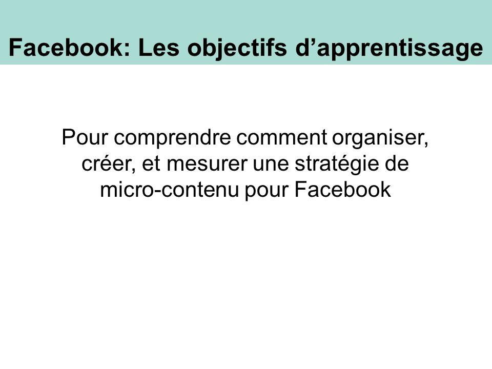 Pour comprendre comment organiser, créer, et mesurer une stratégie de micro-contenu pour Facebook Facebook: Les objectifs dapprentissage