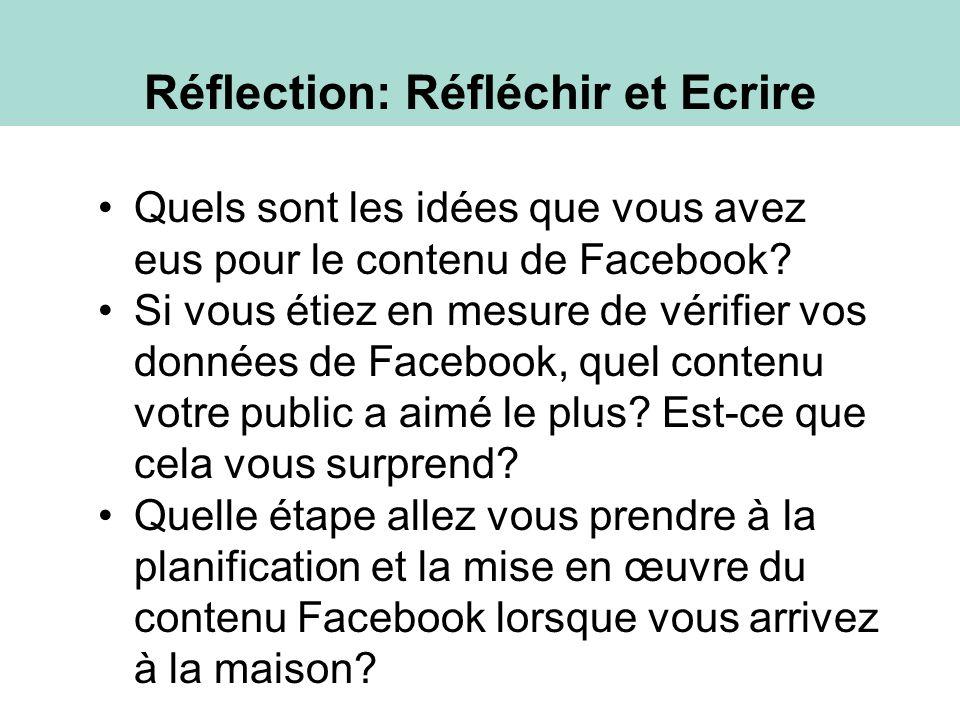 Réflection: Réfléchir et Ecrire Quels sont les idées que vous avez eus pour le contenu de Facebook.