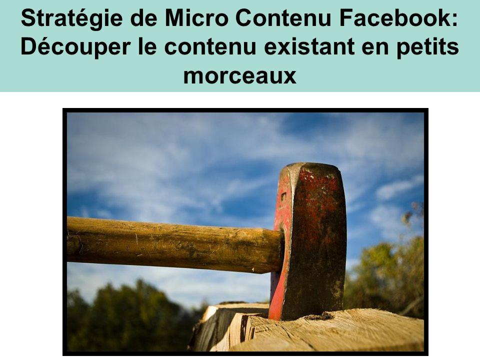Chop Shop Stratégie de Micro Contenu Facebook: Découper le contenu existant en petits morceaux