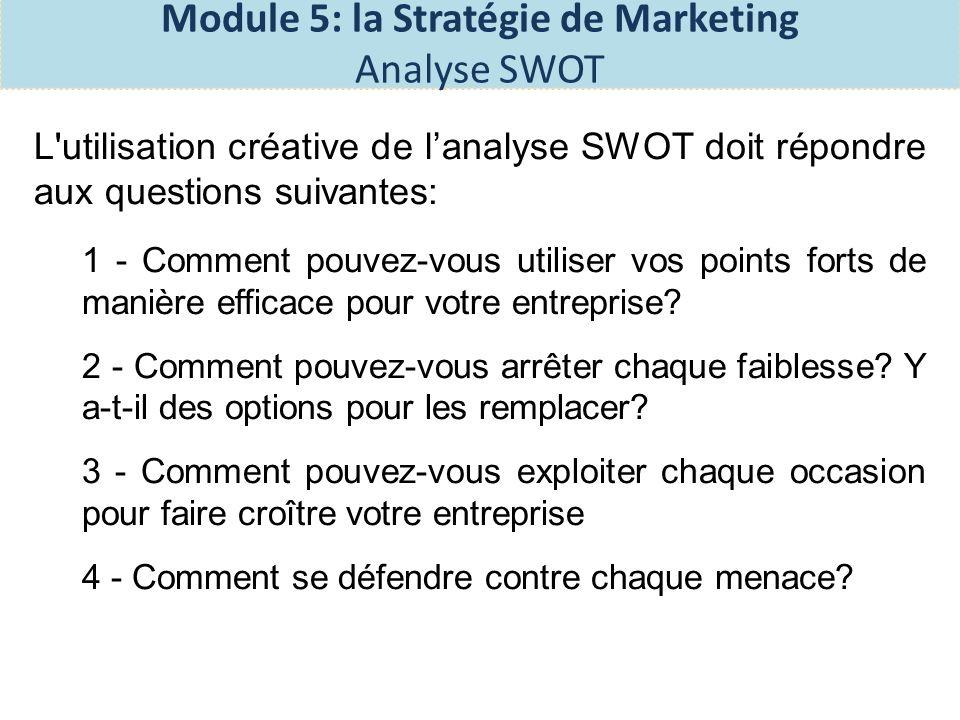 Exercices: Complétez votre analyses SWOT et lanalyse de la compétition dans la section 2 de votre plan business.