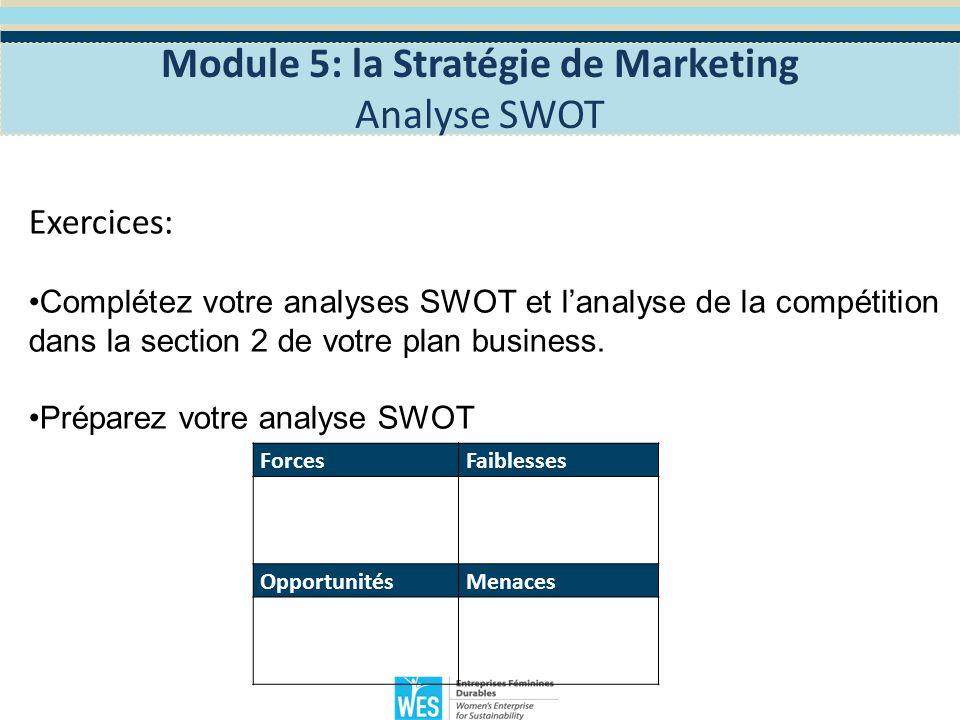Exercice: Expliquez votre analyse SWOT et votre analyse de la concurrence: 1 - Qui sont vos concurrents.