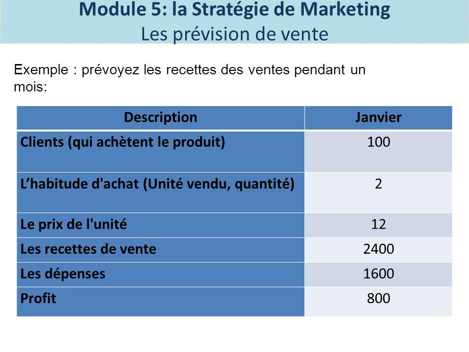Exercice 5 sur la page 54 du manuel des participantes: 1- Répondre aux questions pour préparer vos prévisions de ventes et 2- Remplir loutil de suivi des prévisions de ventes Module 5: la Stratégie de Marketing Les prévision de vente