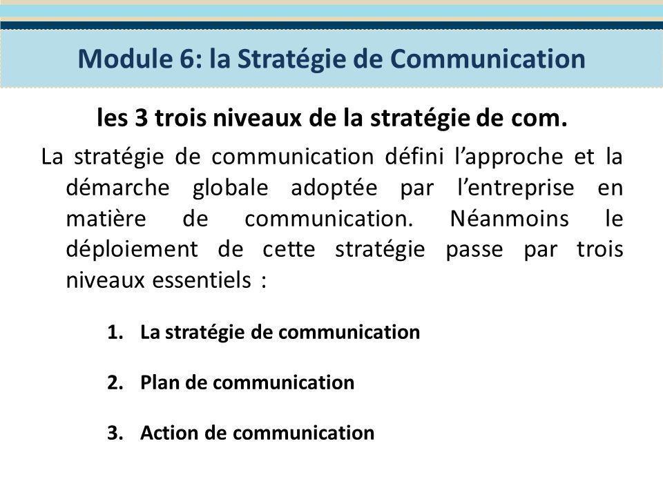 1.La Stratégie de communication Il sagit de la communication à long terme, qui définit lapproche et la démarche qui seront adoptées par lentreprise en matière de communication.
