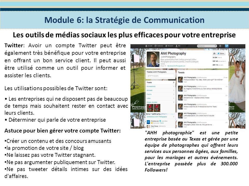 Exercice: Quelles sont les types d outils de médias sociaux et des TIC que vous avez lintention dutiliser pour renforcer votre plan de communication, construire votre image de marque et atteindre vos objectifs de marketing.