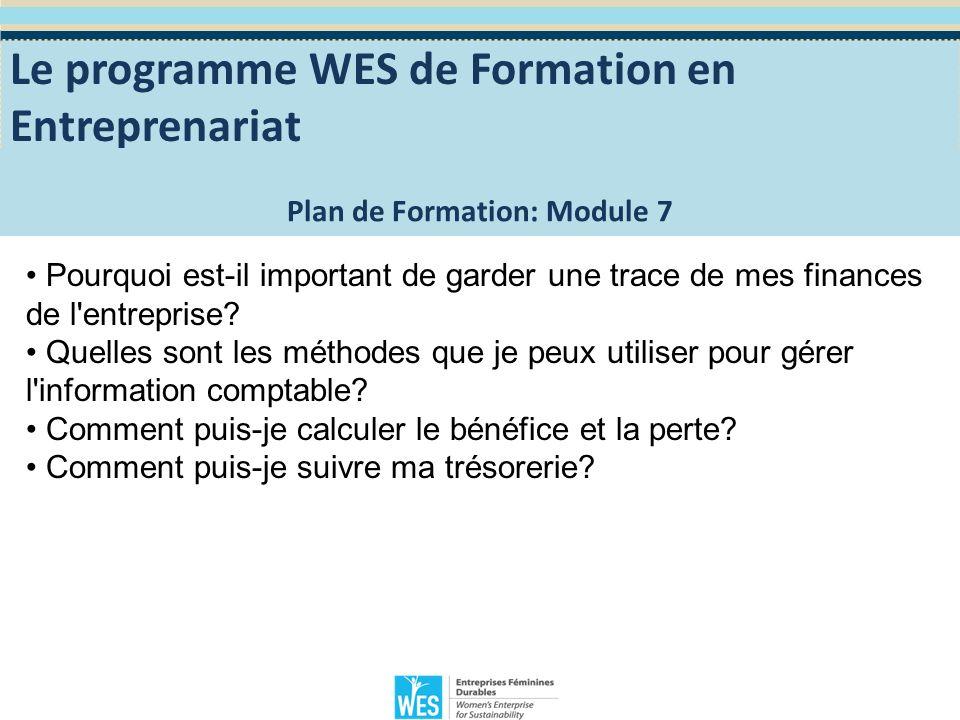 Module 7: Planification de la gestion financière Mesurer le succés Une des motivations pour démarrer une entreprise est de réaliser un profit.