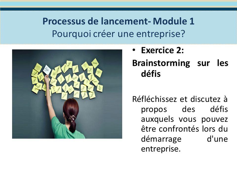 Insérez des exemples de Programmes nationaux dassistances aux entrepreneurs Processus de lancement- Module 1 Pourquoi créer une entreprise?