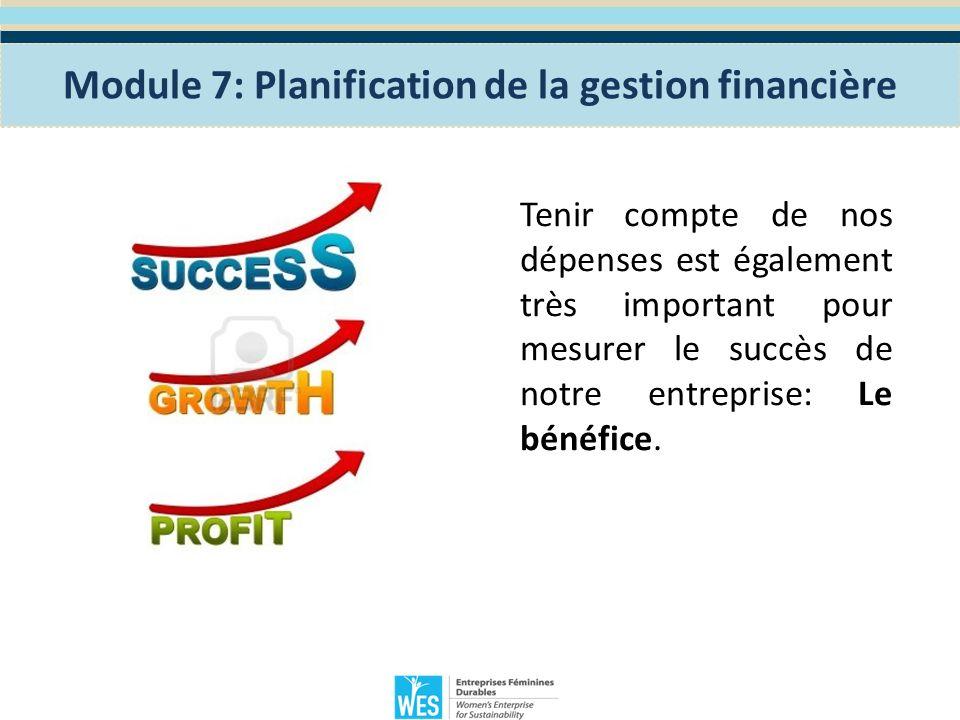 Module 7: Planification de la gestion financière Histoire 2 Lisez lhistoire sur la page 71 du manuel des participantes et partagez les leçons retenues.