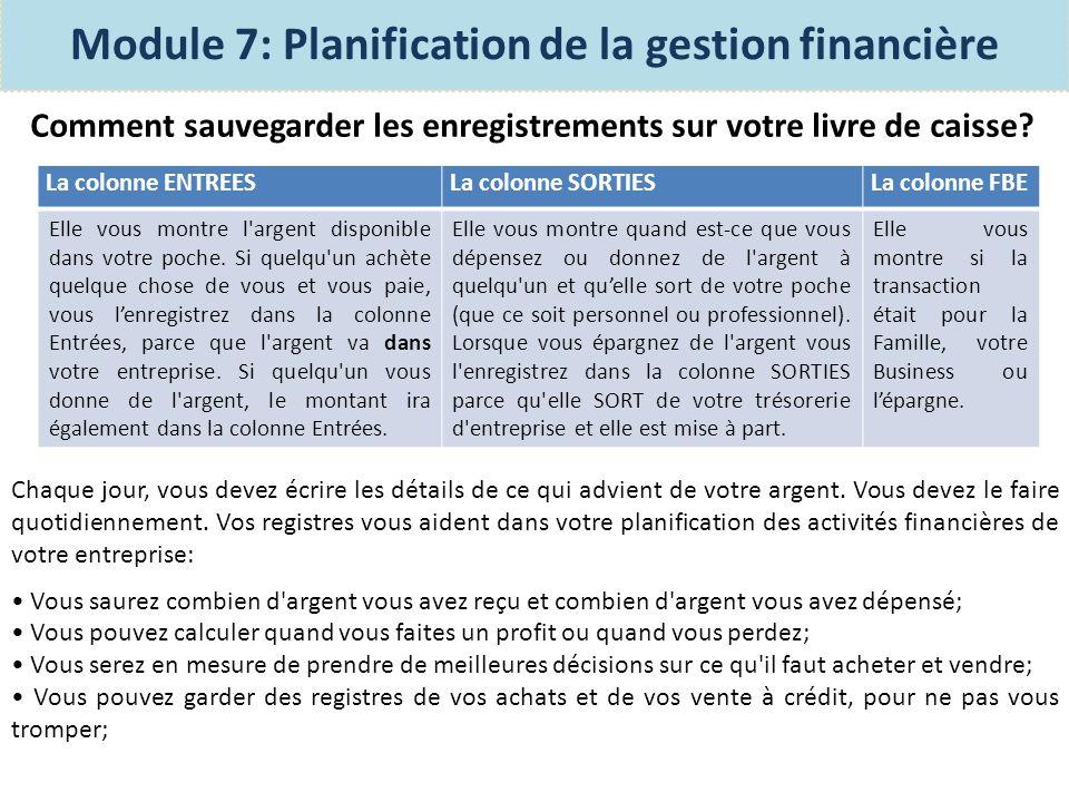 Module 7: Planification de la gestion financière Exercice: Lisez l histoire de Malika et son livre de caisse sur la page 75 du manuel des participantes et discutez concernant ce qu elle a mal fait?