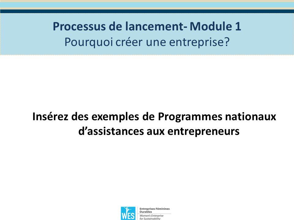 Processus de lancement- Module 1 L évaluation de vos compétences entrepreneuriales Quels sont les qualités dun bon entrepreneur.