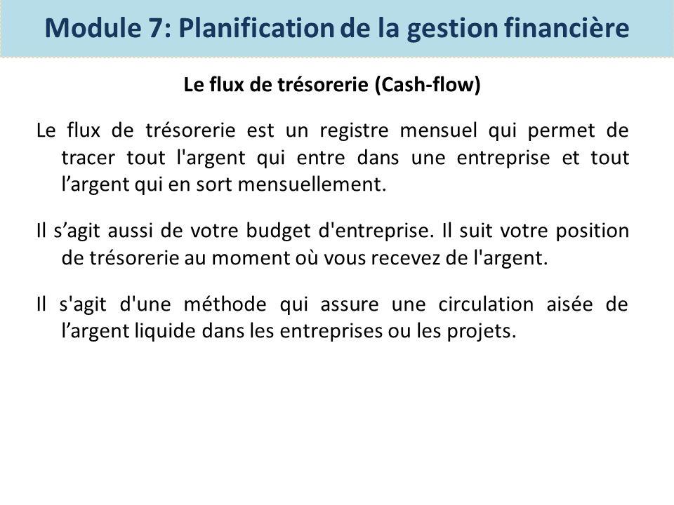 Le flux de trésorerie (Cash-flow) Le tableau des flux de trésorerie est un rapport financier de base.