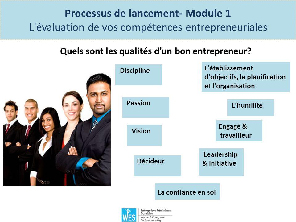 Processus de lancement- Module 1 L évaluation de vos compétences entrepreneuriales Exercice: Évaluez vos compétences entrepreneuriales Répondez au questionnaire sur les pages 17, 18 et 19 du Manuel des participantes et calculez les scores