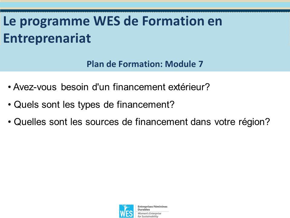 Module 8: Financer mon entreprise Nous pouvons déterminer les capitaux de démarrage et les fonds nécessaires, sur la base de nos prévisions et de nos projections.