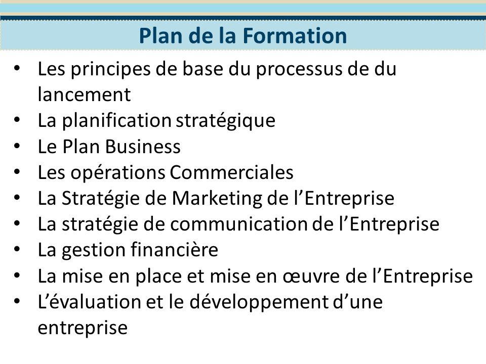 Objectifs Pédagogiques Appréhender les principes de base du processus de du lancement, de planification, de mise en place, de mise en œuvre, dévaluation et de développement dune entreprise,