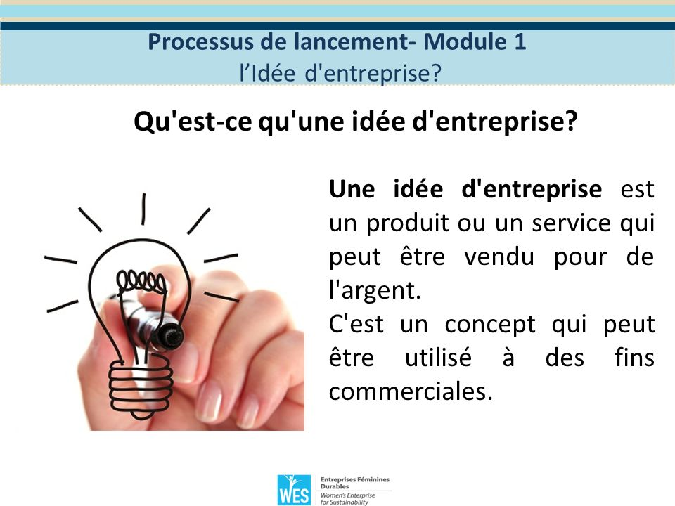 Définir lidée d entreprise.Processus de lancement- Module 1 lIdée d entreprise.