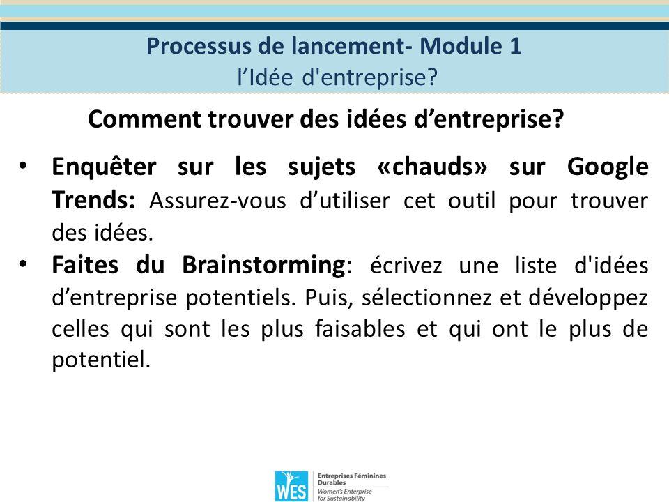 Exercice 4: Exercice de groupe Définissez votre idée d entreprise Réunissez-vous avec votre groupe pour réfléchir et définir une idée d entreprise.