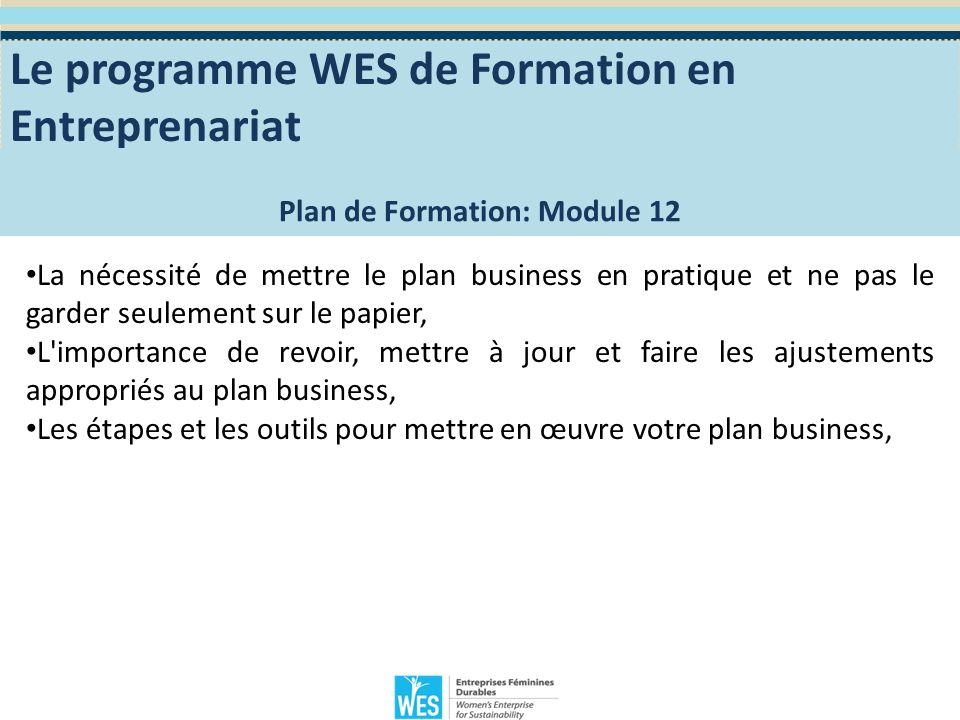 Module 12 – Implémentation de votre plan business Mettre votre plan business à l action: Lorsque vous aurez terminé la rédaction de votre plan business, n oubliez pas que vous venez juste de commencer.