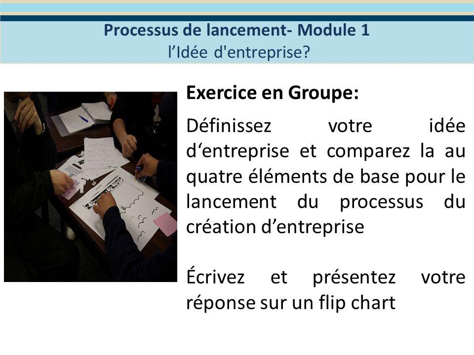 Processus de lancement – Module 1 Le lancement du processus de la création 1 – La création dentreprise, Pourquoi créer une entreprise.
