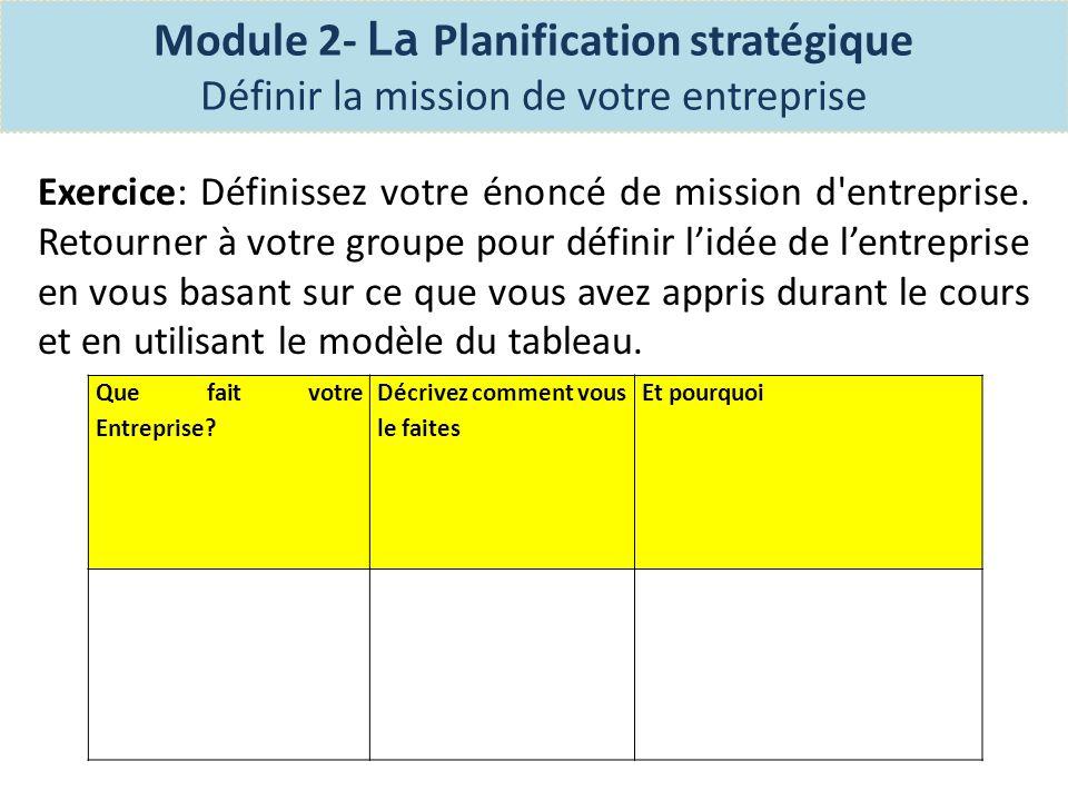 Module 2- La Planification stratégique Définir lénoncé de vision d entreprise Sans un énoncé de vision, la planification d une entreprise efficace serait impossible.