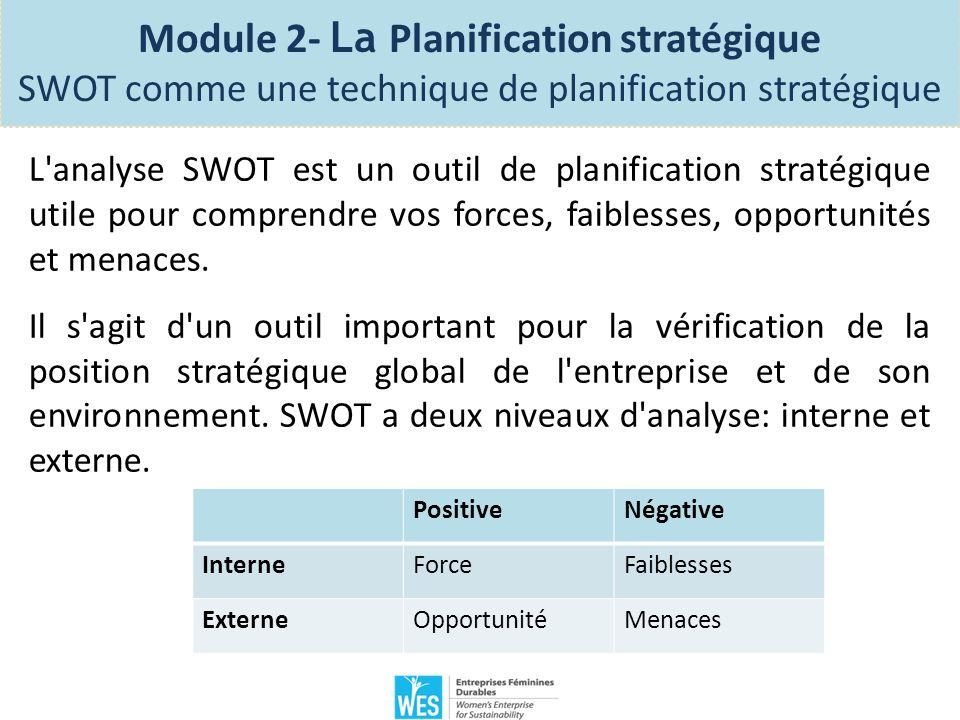 Votre analyse SWOT vous aide en tant que chef d entreprise à déterminer la stratégie de croissance que l entreprise devrait prendre et comment ladapter en général aux éléments essentiels à l élaboration d une stratégie pour un succès durable.