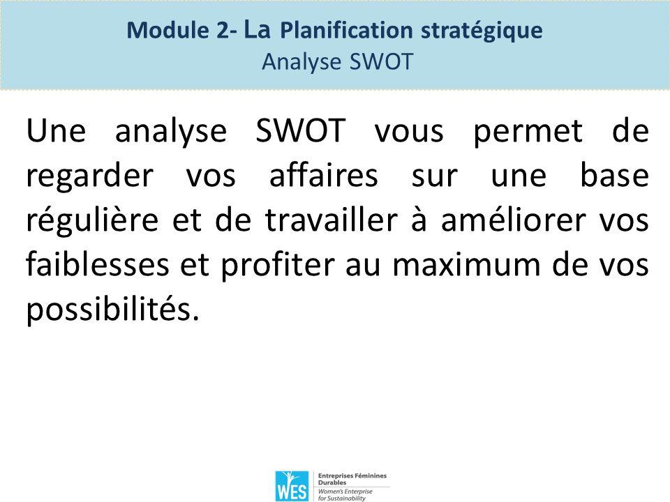Vous devez effectuer votre analyse SWOT pour votre planification stratégique, la planification de fonctionnement le, l évaluation de la concurrence, la stratégie marketing et l évaluation de lentreprise.