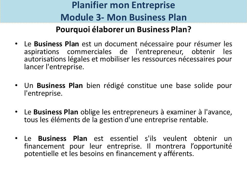 Les éléments dun bon plan business Les éléments de base de votre Plan Business comprennent: Résumé opérationnel: Il s agit d un bref résumé des objectifs globaux de votre entreprise et comment vous avez l intention d atteindre ses objectifs.