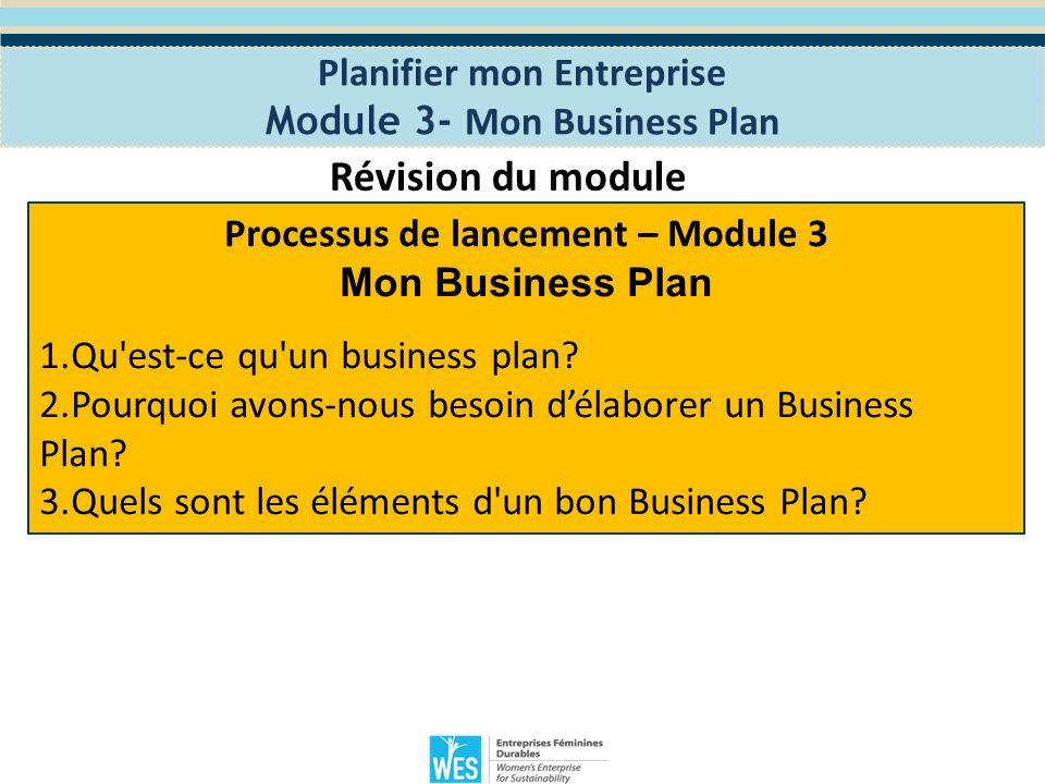 Planifier mon Entreprise Module 4- Les opérations commerciales Le programme WES de Formation en Entreprenariat