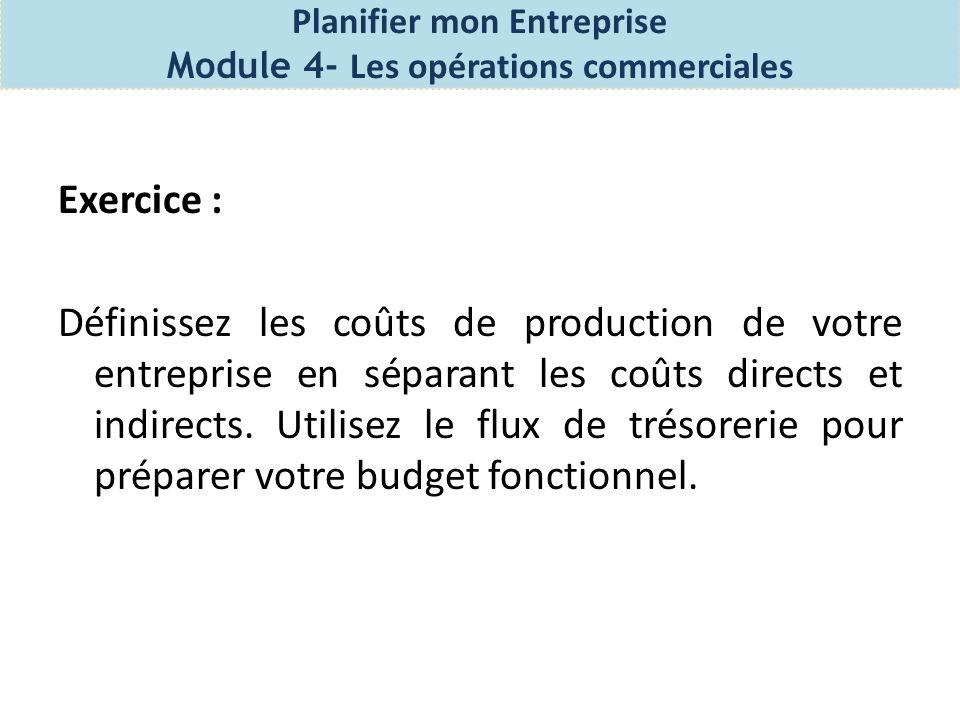 Processus de lancement – Module 4 Les opérations commerciales Quel est le budget de fonctionnement.
