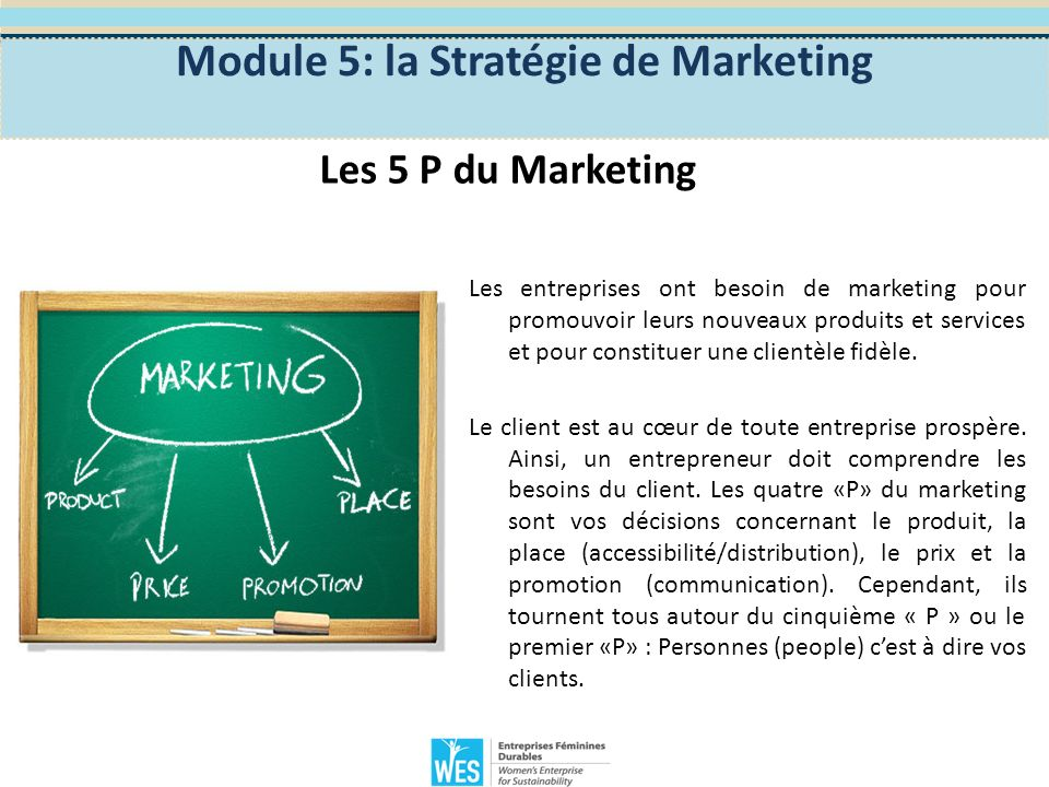 Module 5: la Stratégie de Marketing Les 5 P du marketing Personnes Qui sont mes clients.