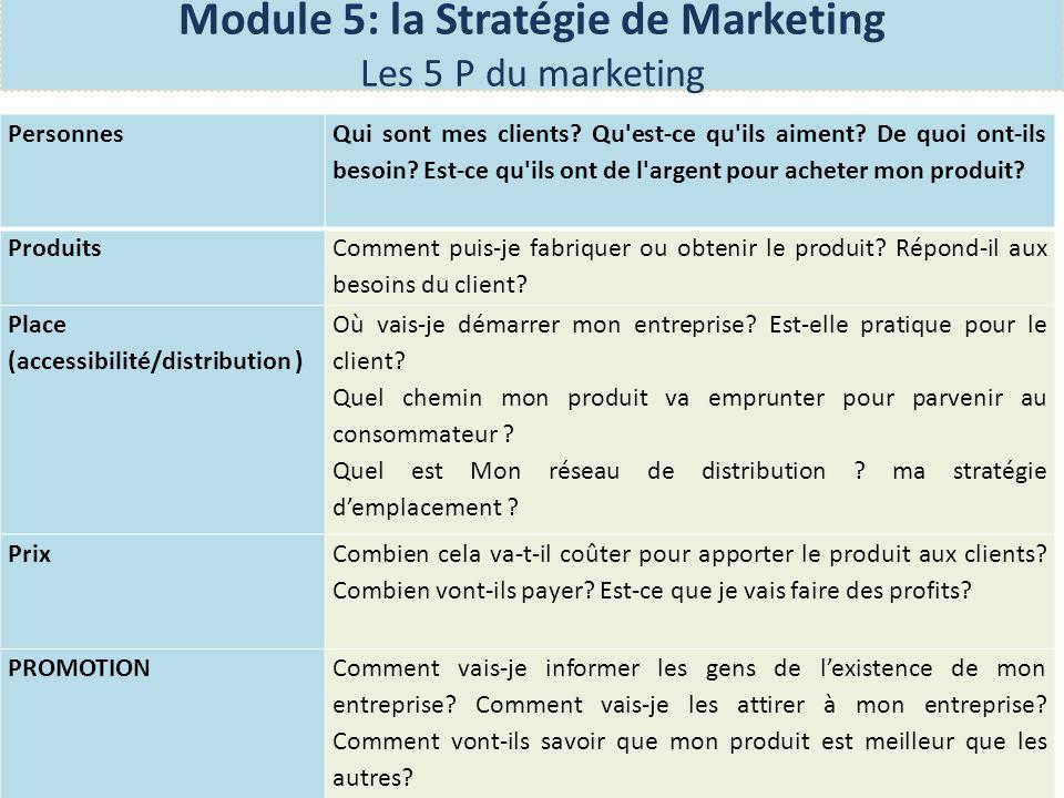 Qui est le CLIENT Quel PRIX allez-vous fixer Comment allez-vous faire la PROMOTION (COMMUNICATION) O ù -est La PLACE pour votre entreprise (accessibilit é ) Quel est le PRODUIT Module 5: la Stratégie de Marketing Les 5 P du marketing